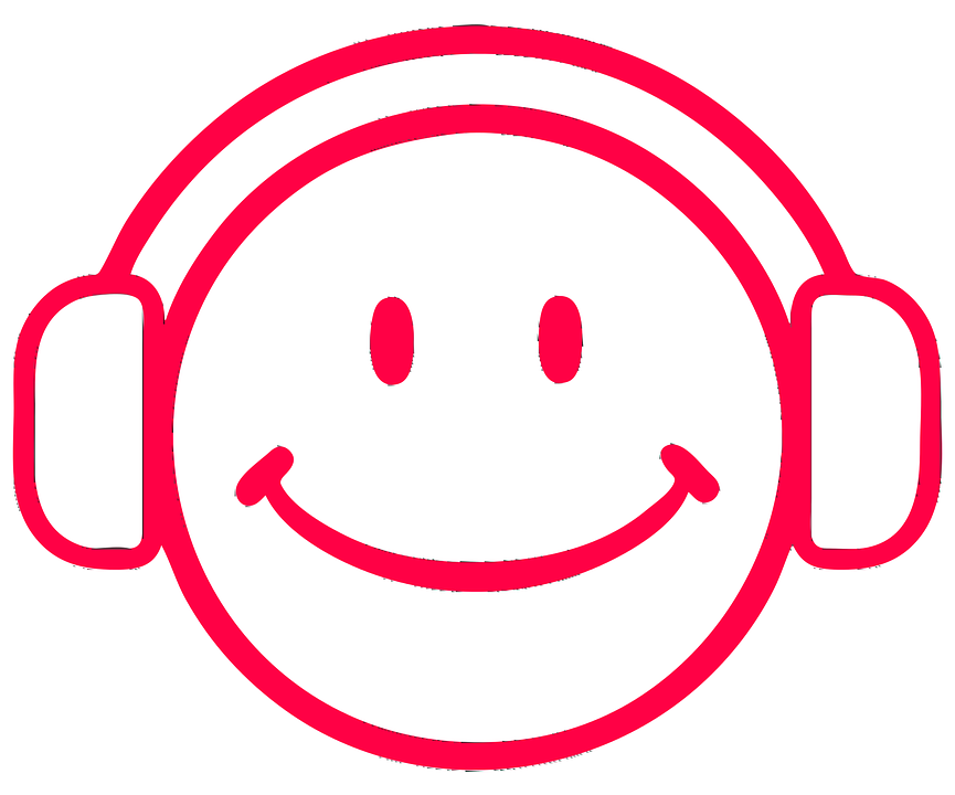 smiley face with headphones