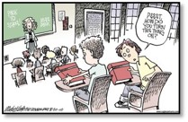 Cartoon Image of a student asking how to turn on their textbook.