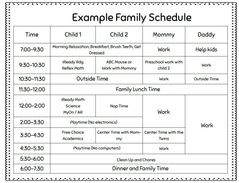 Thumbnail Example Schedule for home e-learning