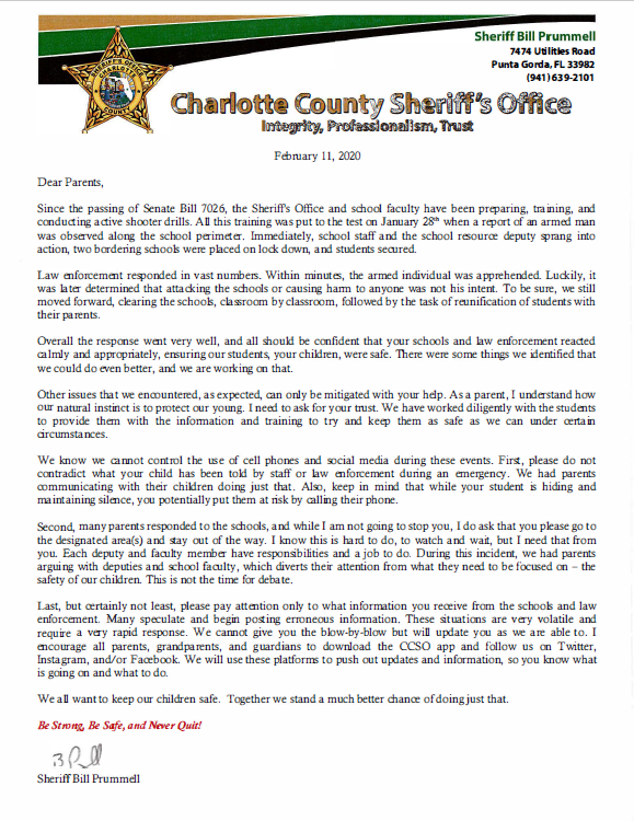 Thumbnail Letter to Parents from Sheriff Bill Prummell Feb 11 2020