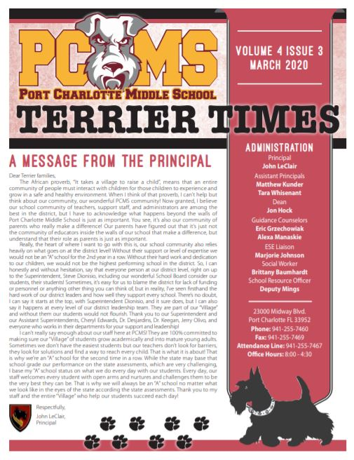 Latest issue of Terrier Times