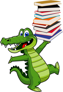 gator with books