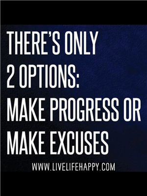 Poster that states, There's Only 2 Options: Make Progress or Make Excuses