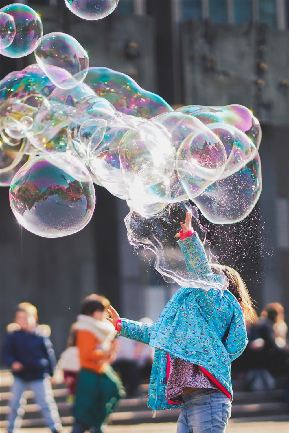 kid with big bubbles