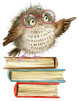 Pointing owl standing on books.