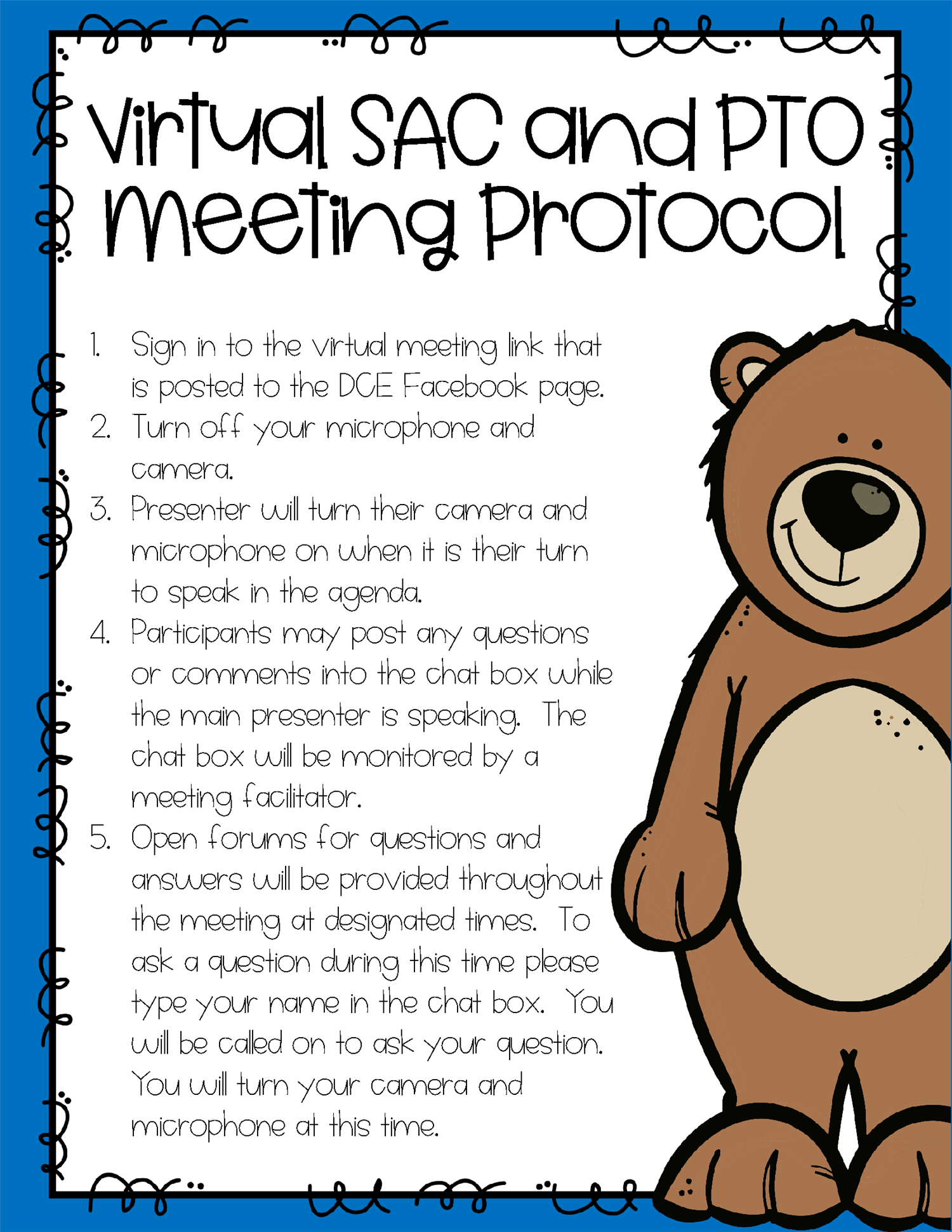 Virtual SAC & PTO Meeting Protocols