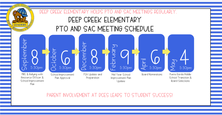 PTO & SAC Meeting all 5:30 pm - 9/8/20; 10/6/20; 12/8/20; 02/09/20; 04/06/20