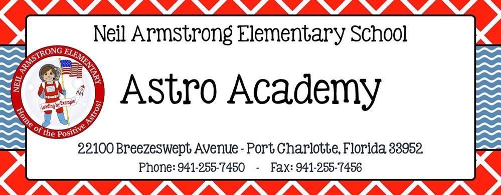 Astro Academy Heading that includes school address and phone numbers
