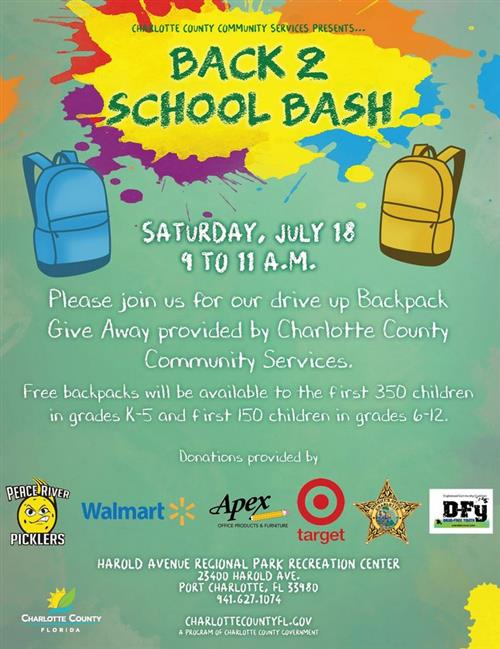 Back 2 School Bash July 18th from 9-11 AM at Harold Ave