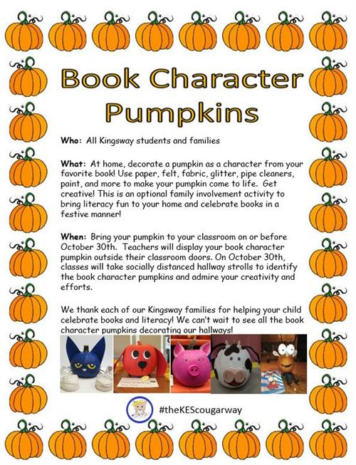 Flyers were sent home about book character pumpkins.