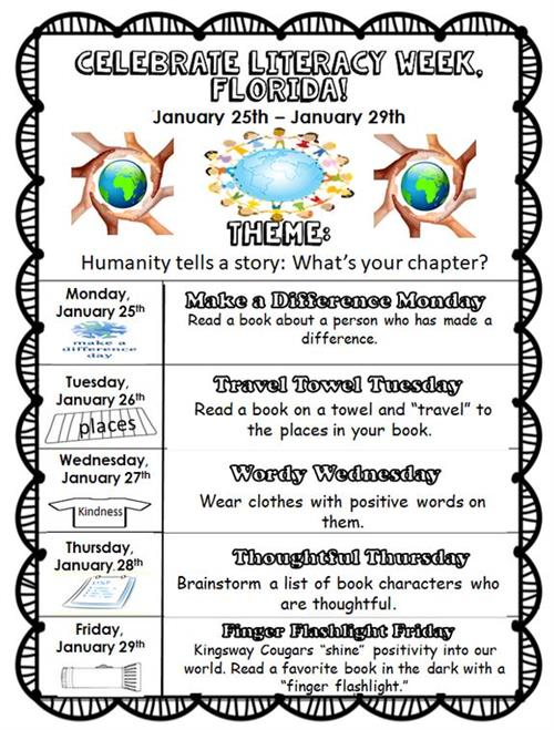Celebrate Literacy Week is January 25th-29th.