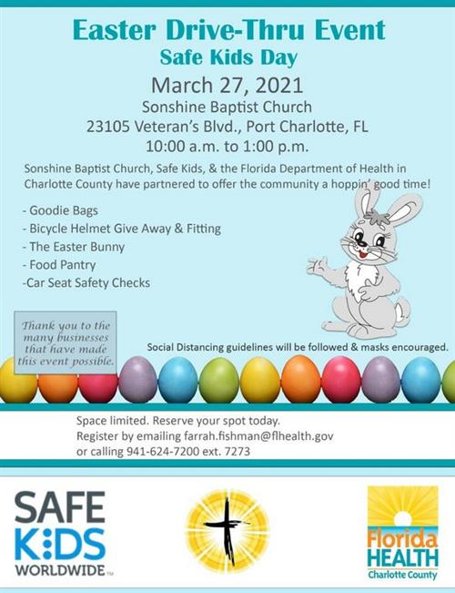 Easter Drive Thru Event.  March 27th at Sonshine Babtist from 10-1.