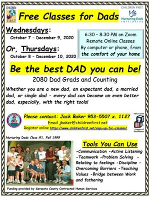 Call Jack Baker at 953-5507 for free classes for dads.