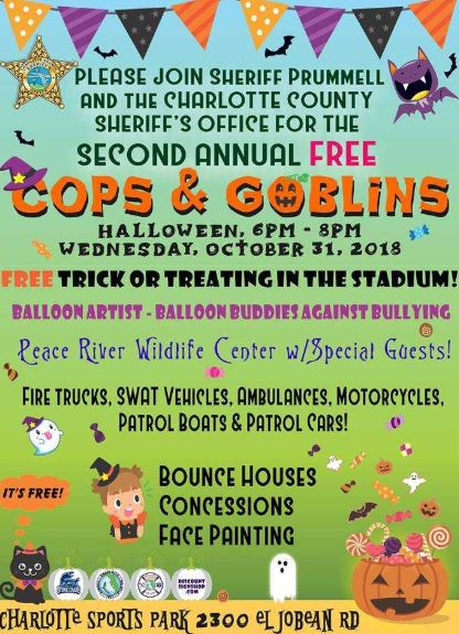 Cops and Goblins on 10/31 from 6-8 PM.