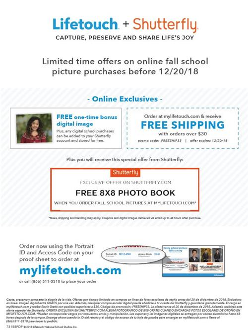 Lifetouch photo offer.  Visit mylifetouch.com with your access code on your proofs for the offer!