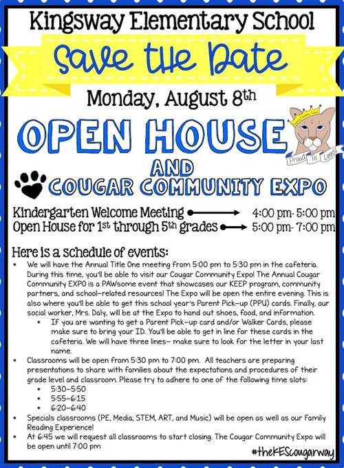 Open house information above picture.