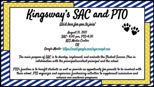 SAC and PTO is October 20th from 6-7 PM.