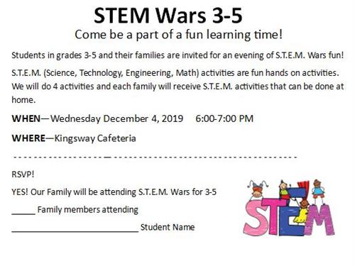 STEM Wars for K-2 is October 23rd from 6-7 PM.  Please RSVP.