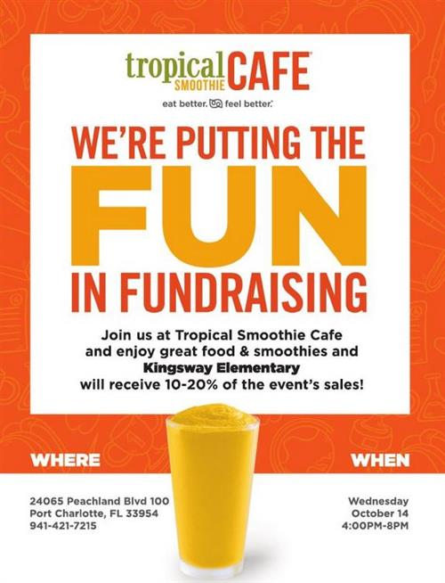 Tropical Smoothie Spirit Night from 4:00-8:00 PM.