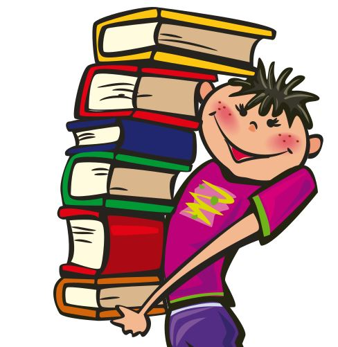 Student carrying books clipart.