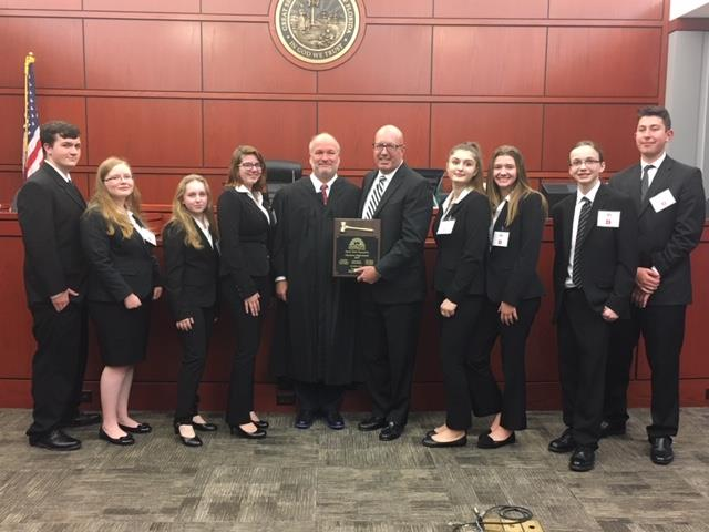 Mock Trial runner ups posing with award