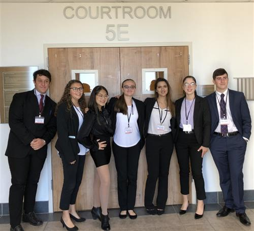 mock trial students posing for photo
